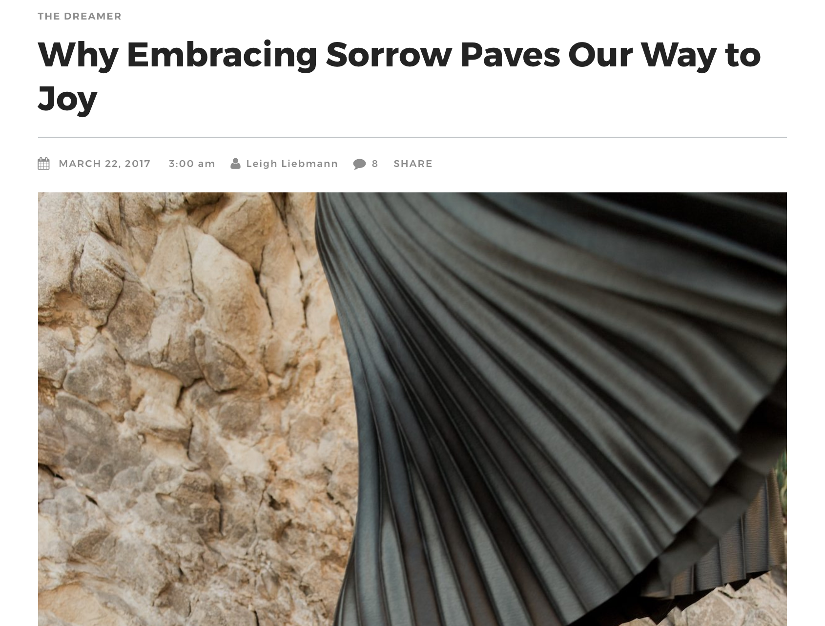 Darling Magazine: Web Article, 2017, Why Embracing Sorrow Paves Our Way to Joy