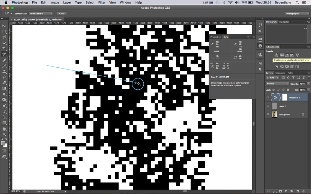 Use the colour sample tool to target a black pixel grouped zone.