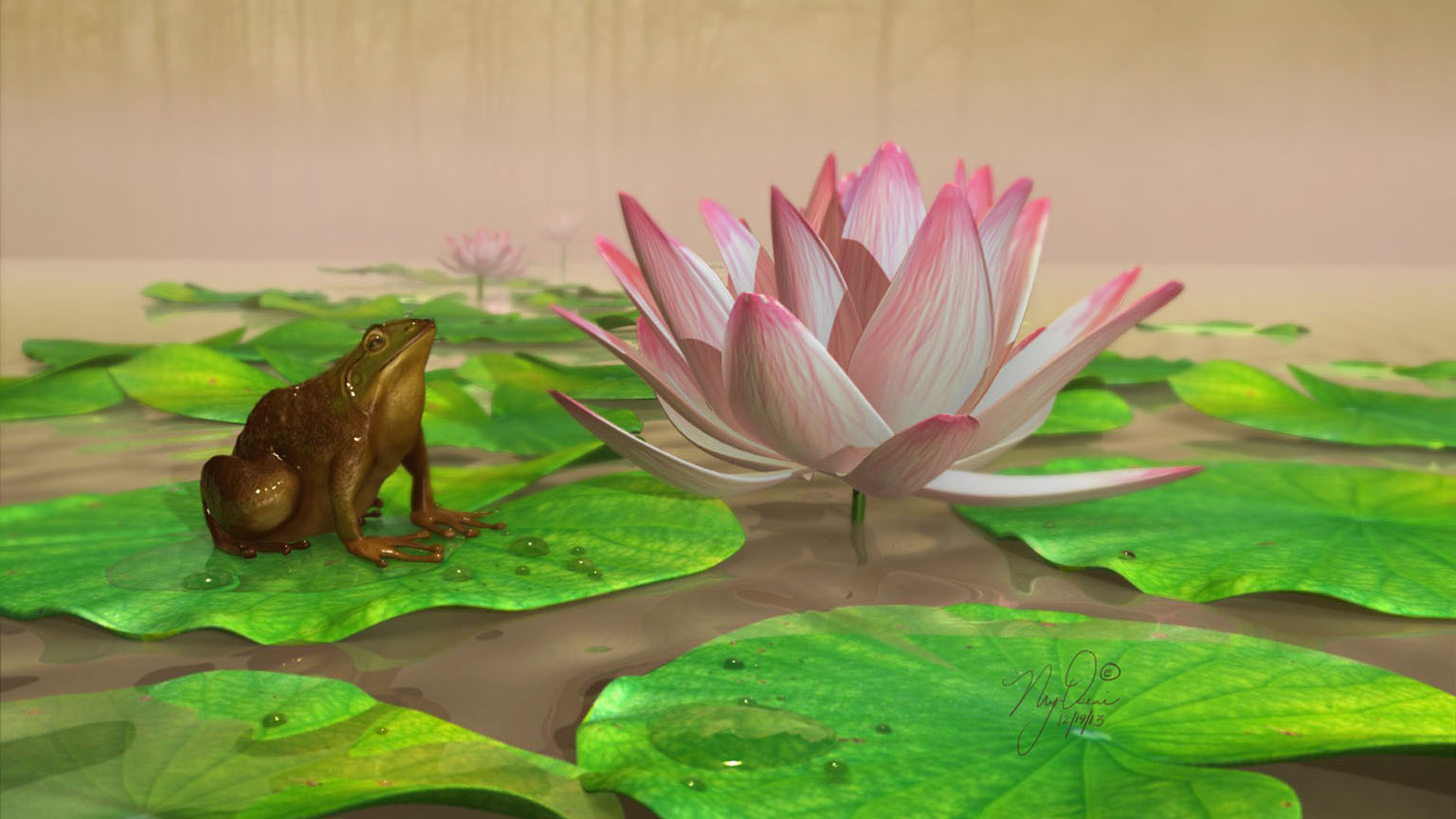 Frog and Lotus in a pond