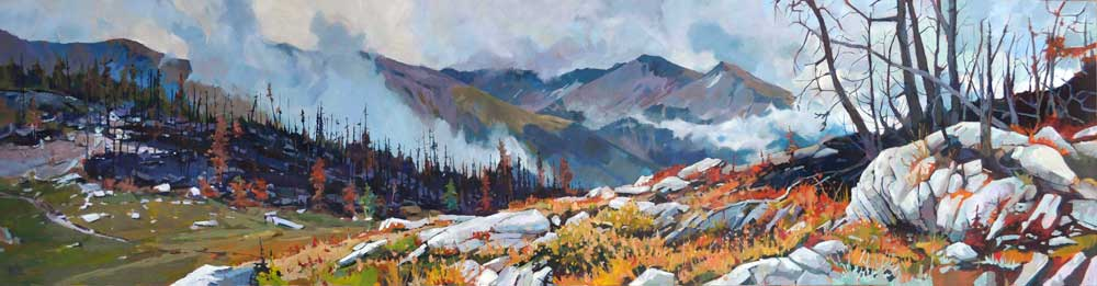 Bald Hills Back Burn 18x72 Mountain Galleries, Jasper AB