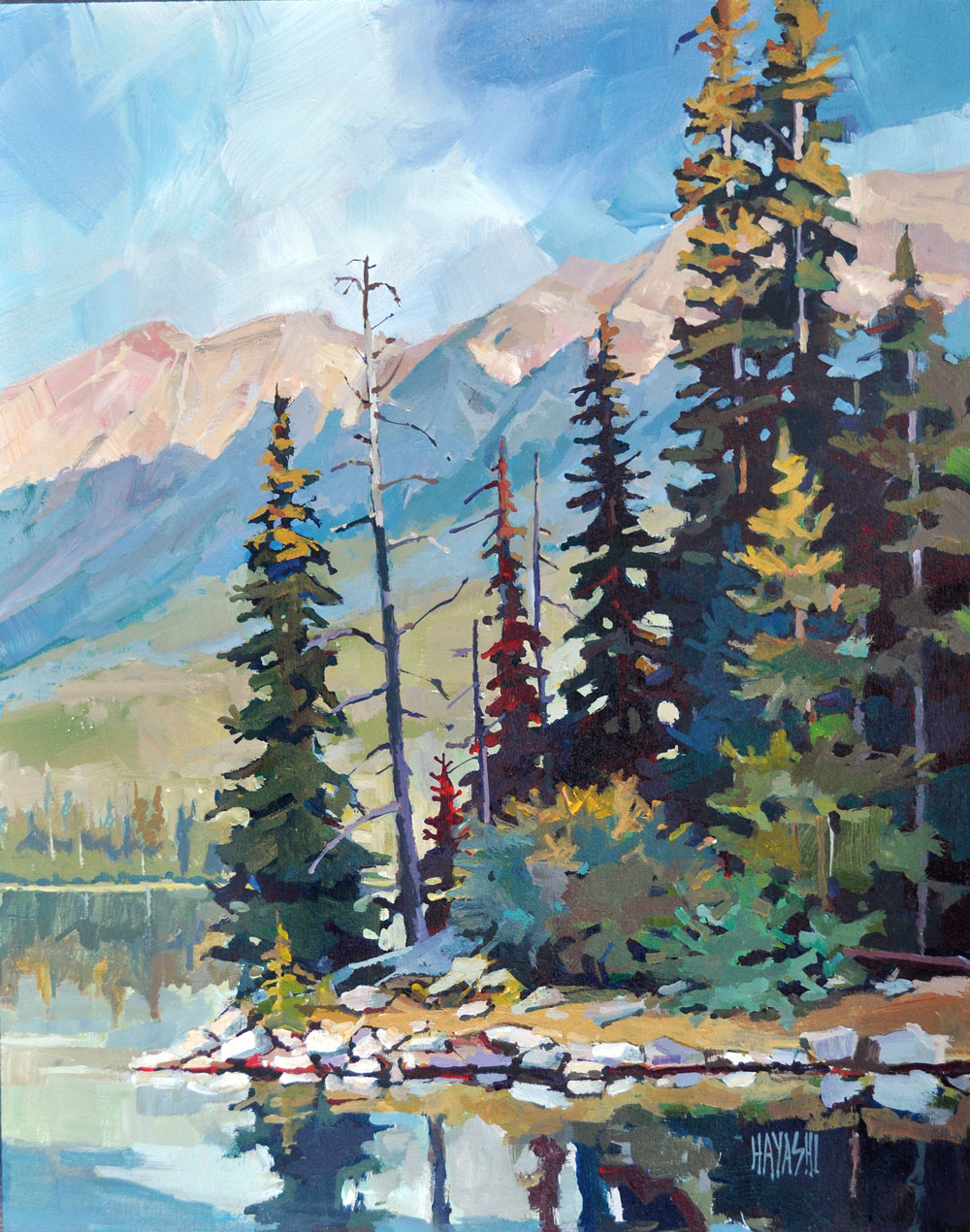 Sunrise on Pyramid Island 11x14 Mountain Galleries, Jasper AB
