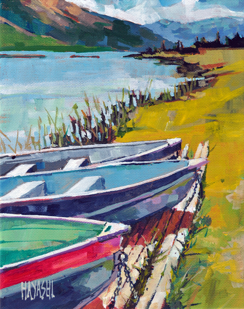 SOLD - Boats on Talbot 8x10 Mountain Galleries, Jasper AB