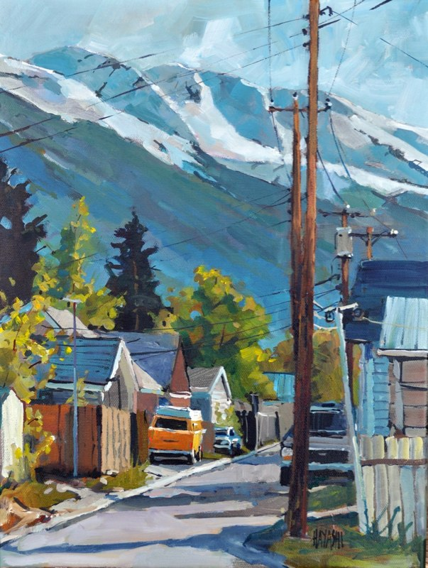 SOLD - VW Down the Lane 12x16 Mountain Galleries, Jasper AB