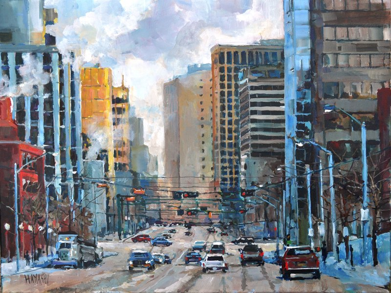 SOLD - January on Jasper Ave 18x24 Edmonton, AB