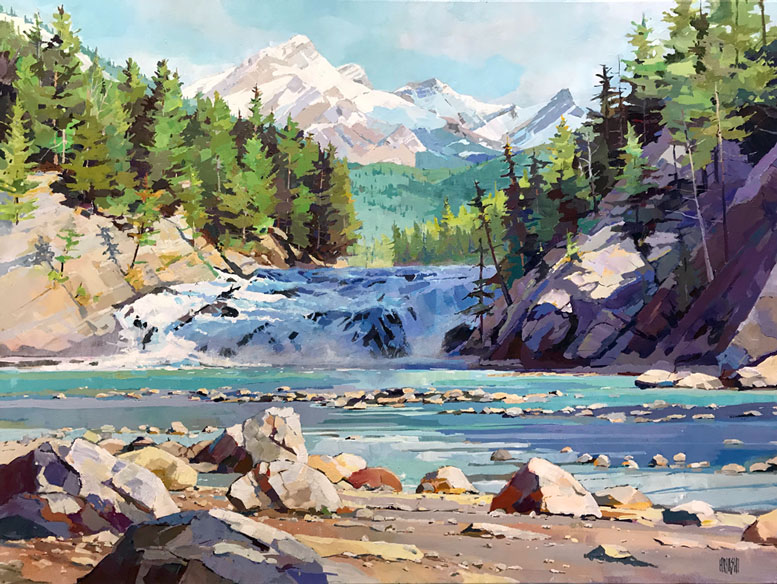 Shadow on Bow Falls 30 x 40