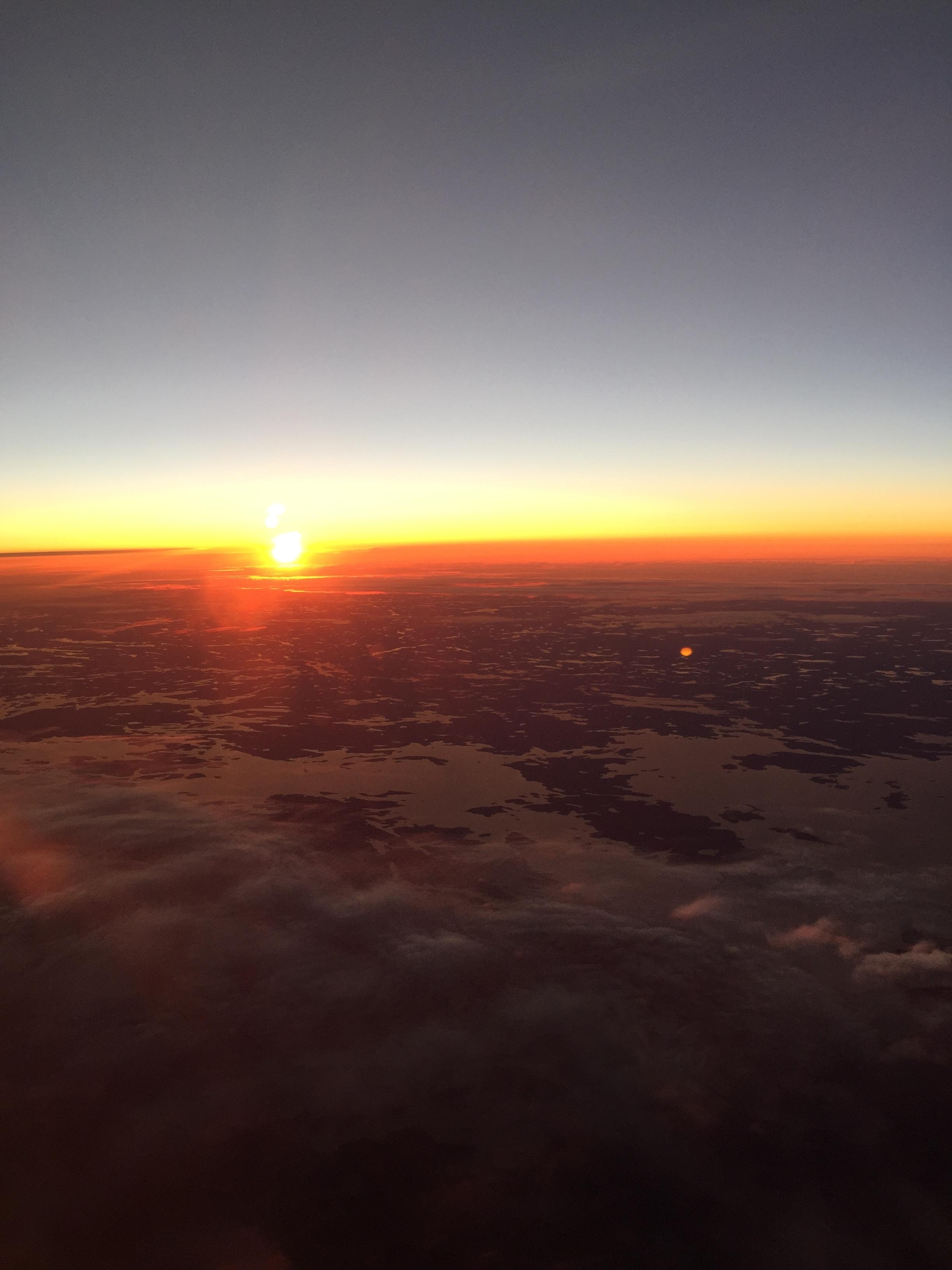 Sunrise on the way to Paris