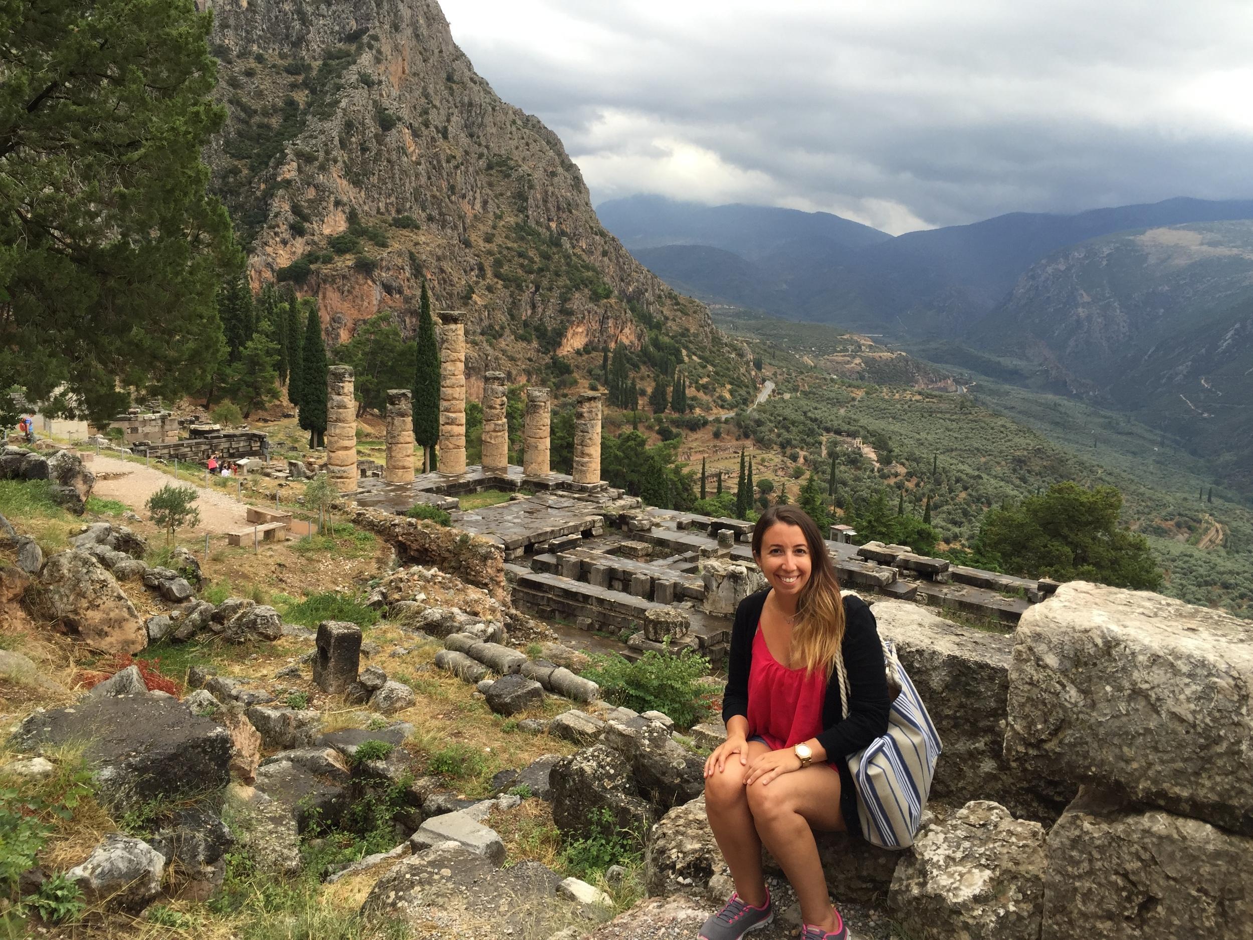 Here I am at the Temple of Apollo, Delphi.