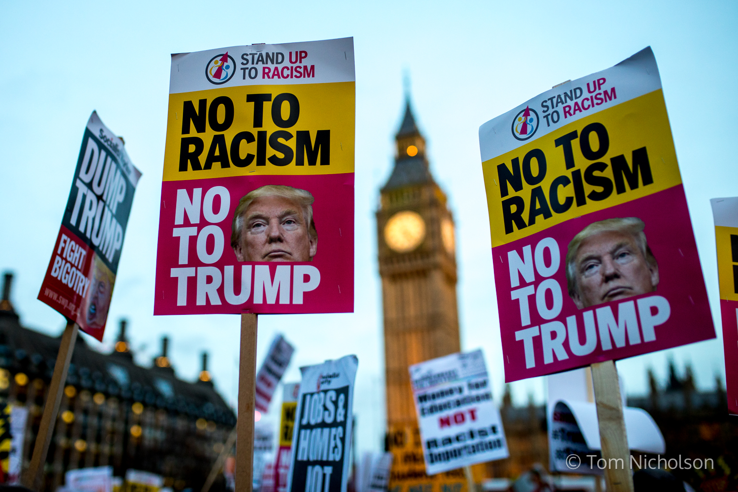©2017 Tom Nicholson. 20/02/2017. London, UK. Demonstrators protest against Donald Trump whilst parliament debate a petition calling for the US President's state visit to be cancelled.