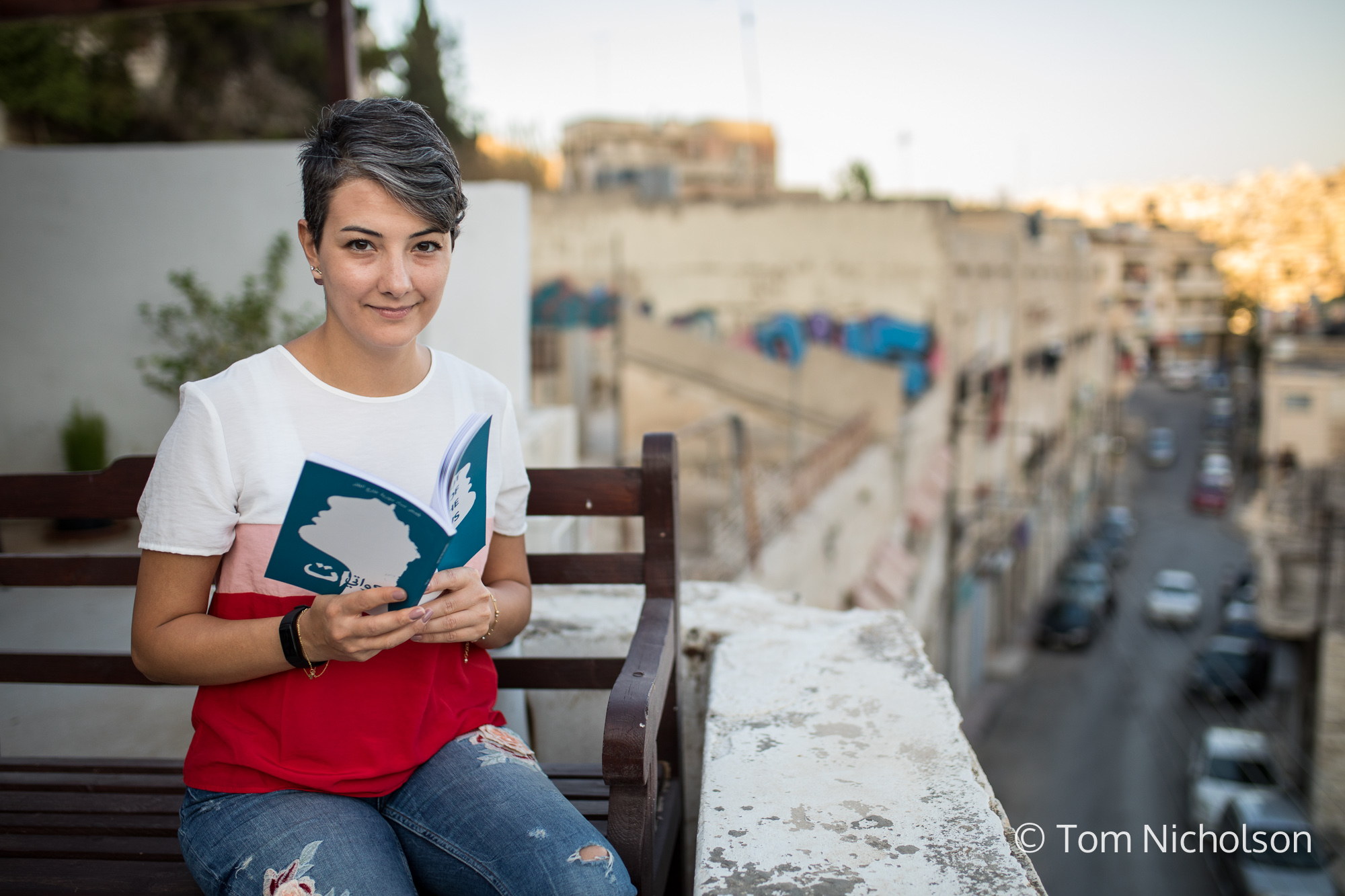 ©2018 Tom Nicholson. 25/06/2018. Amman, Jordan. Milia Eidmouni, from Homs, Syria is the founder of the Syrian Female Journalists Network, a non-profit organisation launched in 2013. The organisation empowers Syrian female journalists, creates campaigns, trains students in journalism and raises awareness of gender inequality and women's issues.
