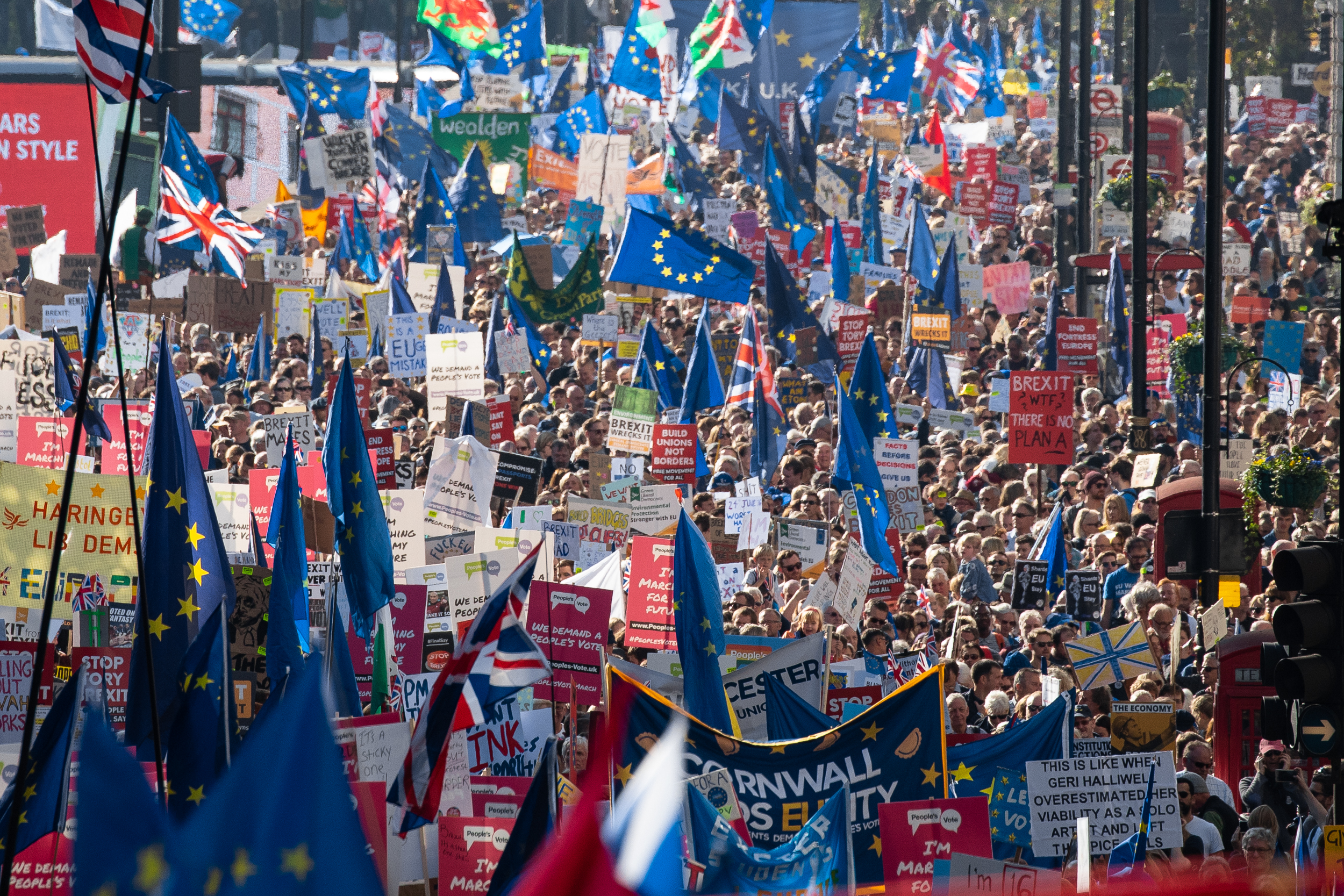 Demonstrators take part in the 'People's Vote' march in central London, campaigning for a public vote on the final Brexit deal. Organisers are expecting over 100,000 to attend the demonstration. October 2018 - London, UK