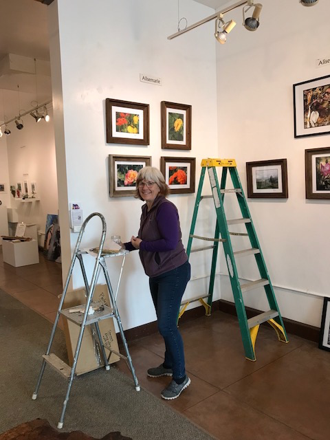 & Edgewater Gallery is getting the space ready for our guests!  (Artists: Happy Hyder (above) & Alisemarie (below)
