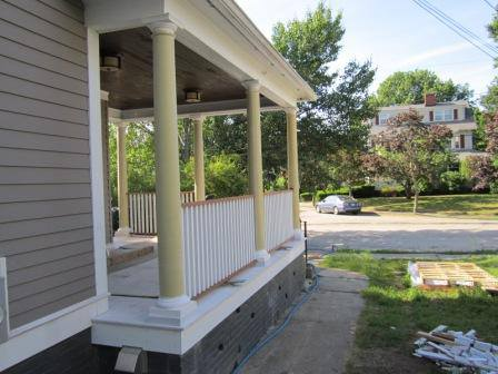 New fiberglass columns installed to match the previous style.