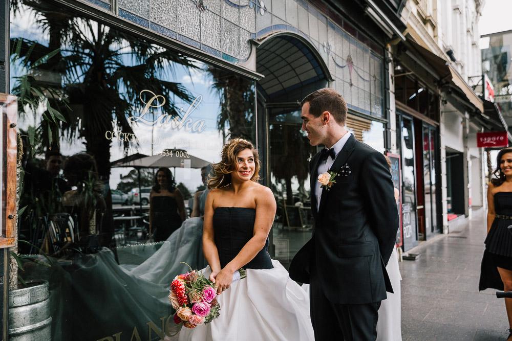 Carla & Matt's epic black tie wedding at Circa, The Prince, St Kilda.