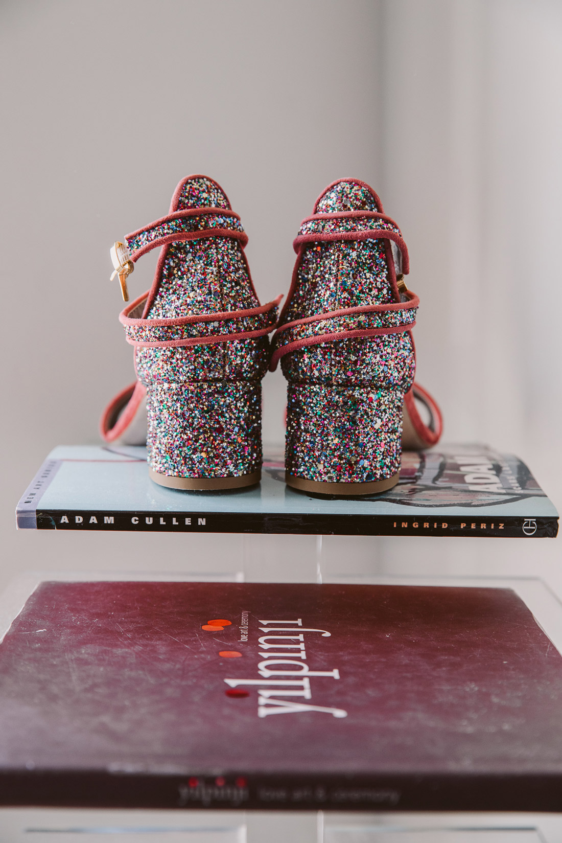 Lucie & Ed's fun and colourful St Kilda wedding by Fennel & Fox. Lucie's glitter platform heels