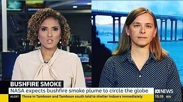 Reposted from @lisa.harveysmith -  The smoke from Australian bushfires has now completed one lap of the Earth. Find out the science of the smoke plume's 'lap of dishonour' in my interview with @abcnews_au. Watch video: https://www.facebook.com/593569607447563/posts/1560493370755177?sfns=mo #australia #bushfiresaustralia #techgirls #STEM