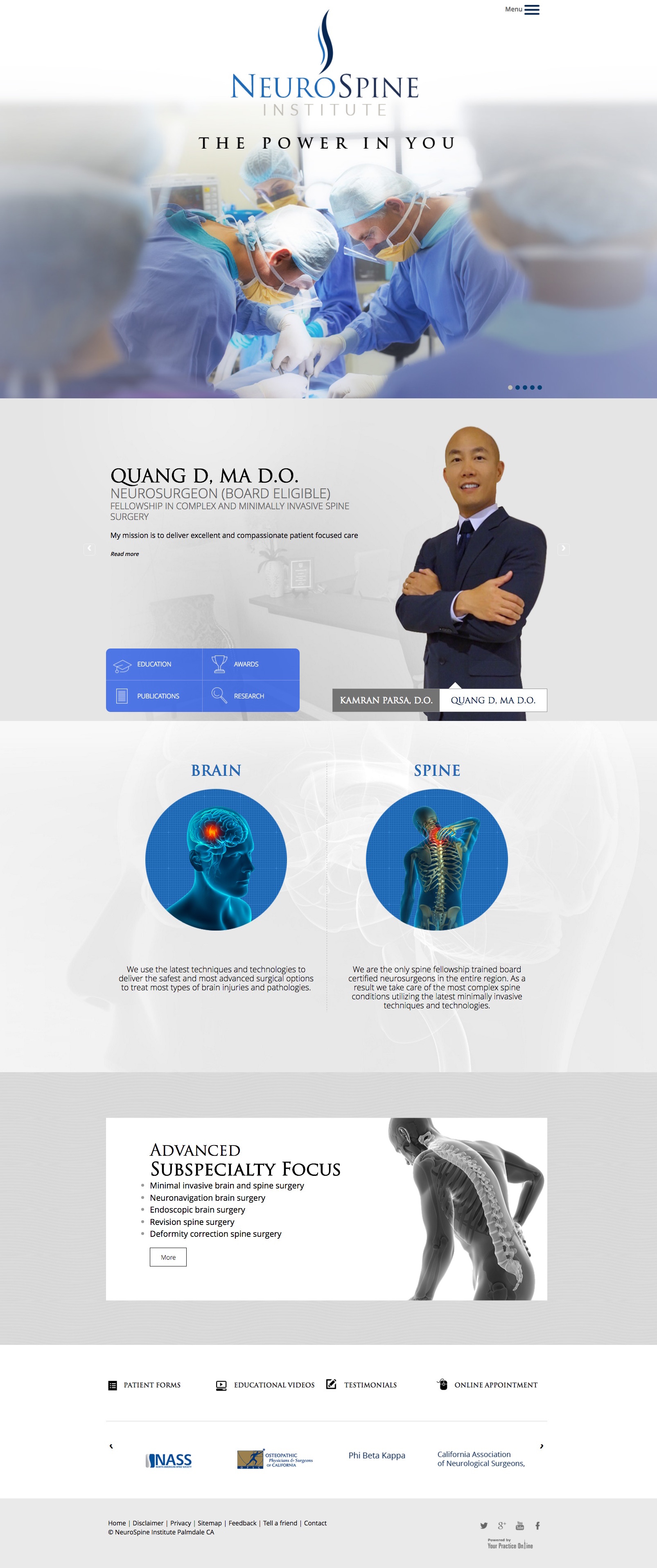 Medical Website for Neurosurgeons