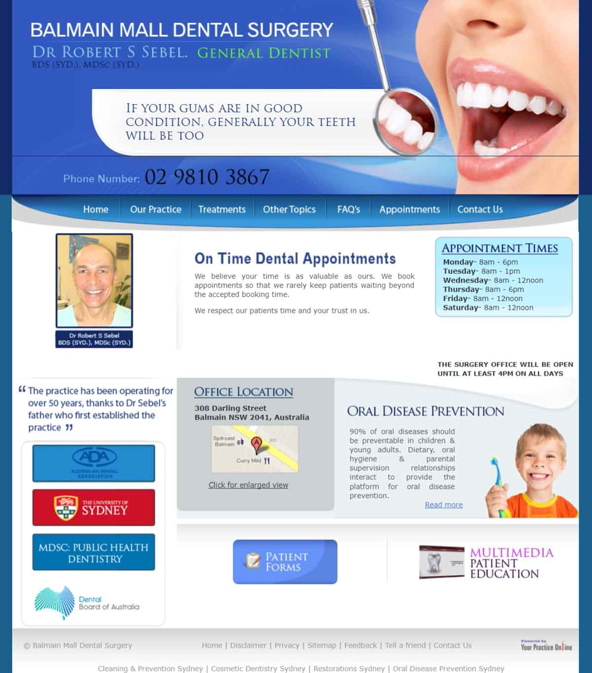 Sydney Dental Surgery Website