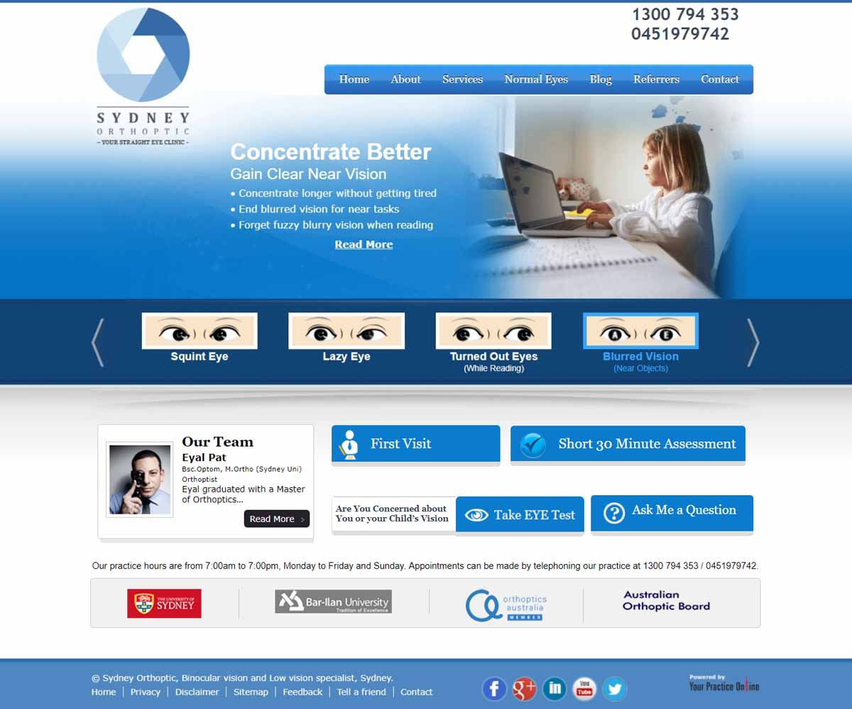 Orthoptic Website Sydney