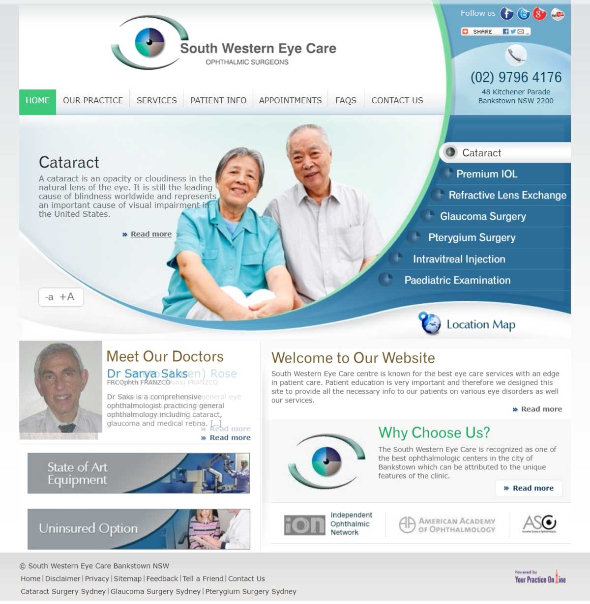 Website for Sydney Ophthalmic Surgeons