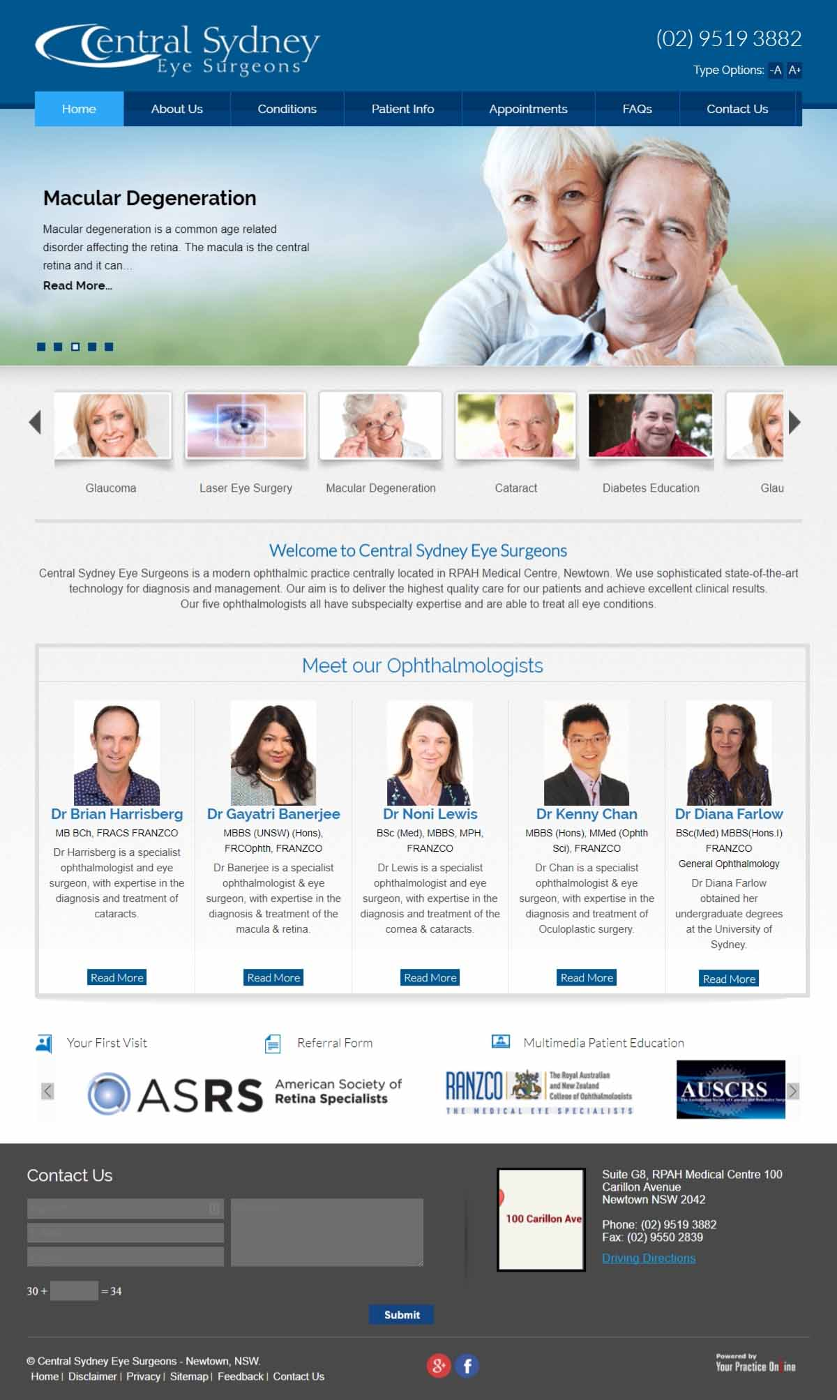 Eye Surgeons Website Sydney