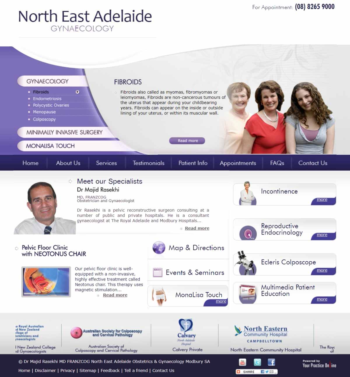 Obstetrician & Gynaecological Surgeon Website Adelaide