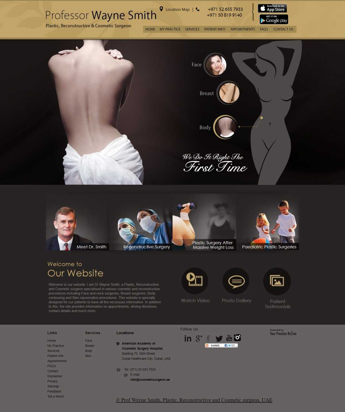 Plastic Reconstructive Cosmetic Surgeon Website Dubai
