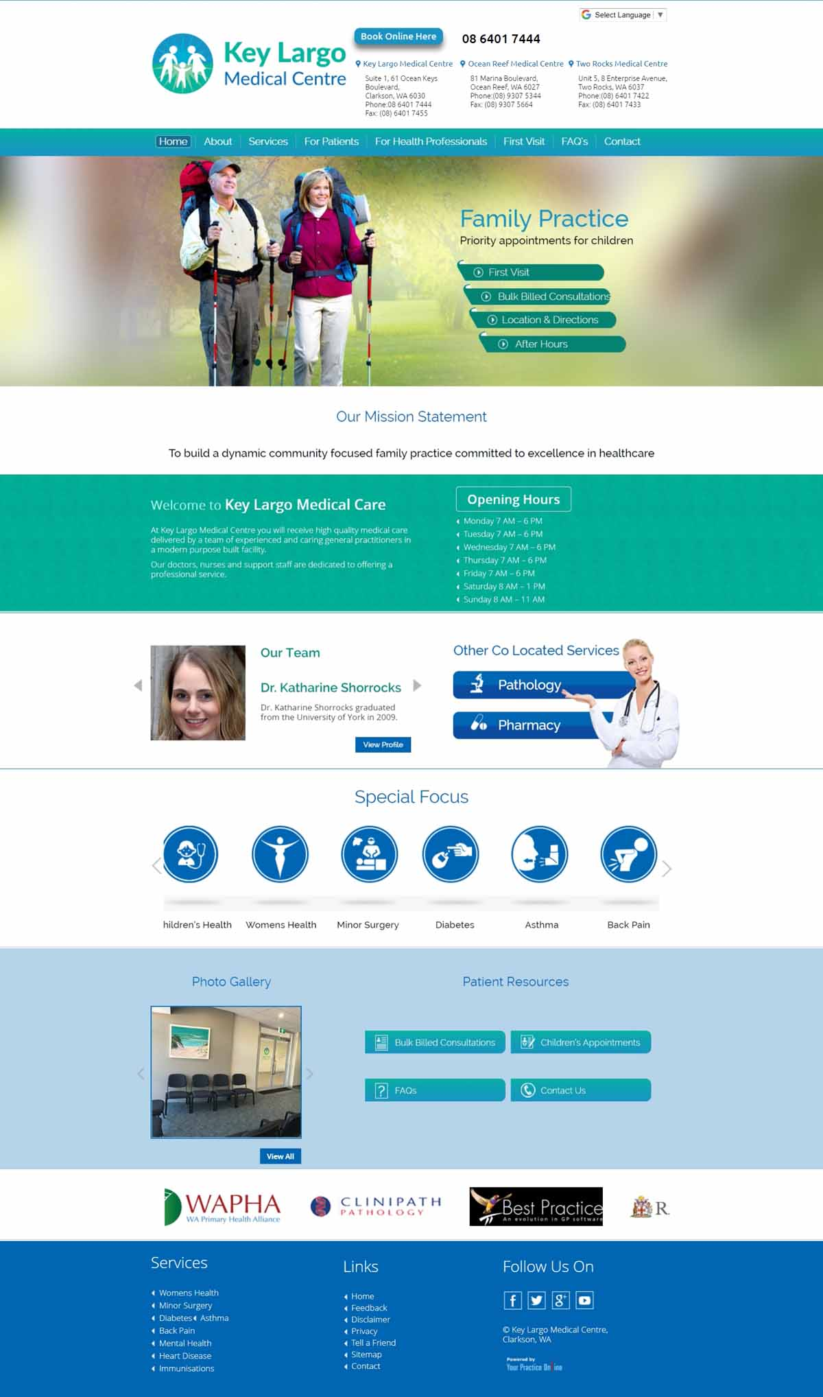 Website for Medical Centre Australia
