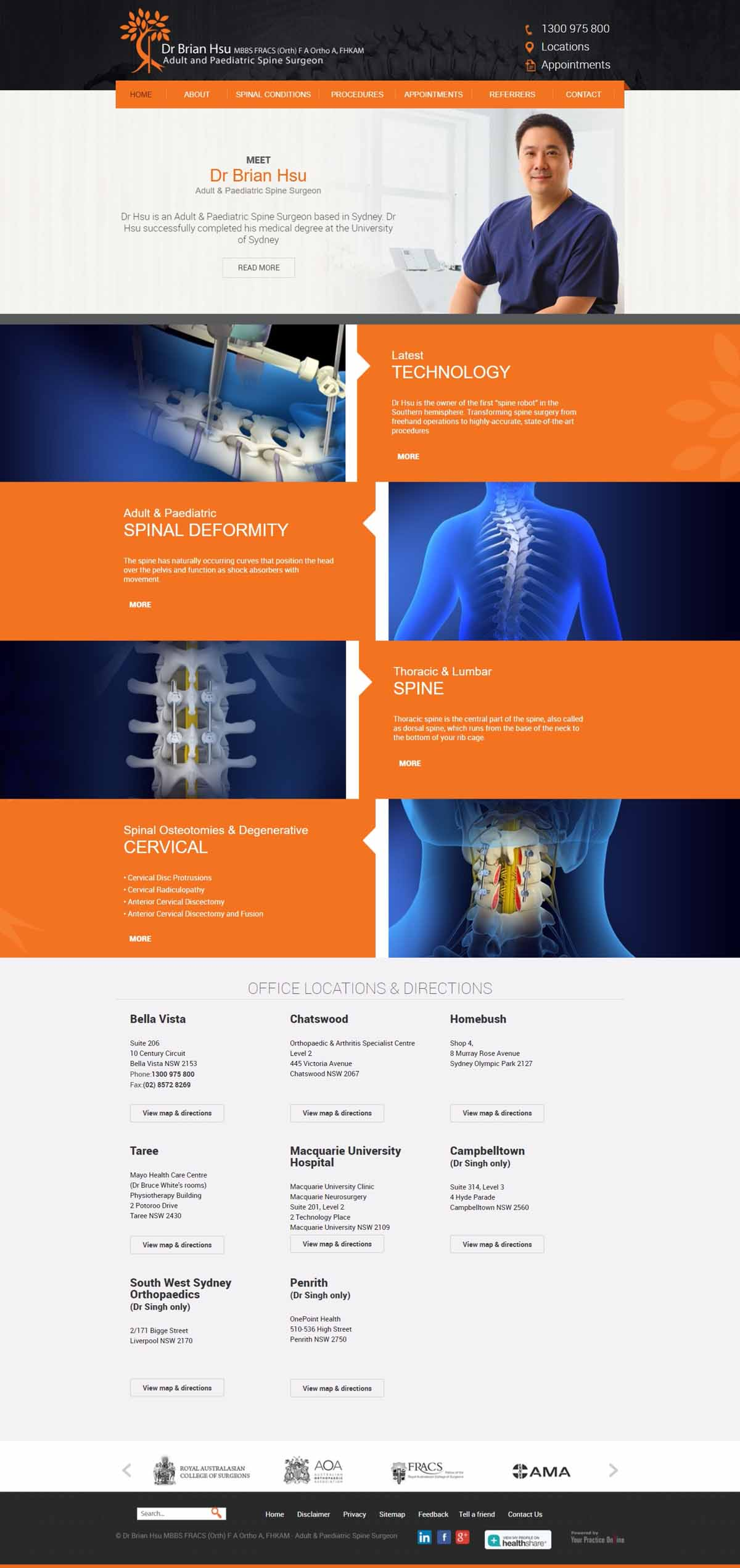 Adult & Pediatric Spine Surgeon Website Sydney