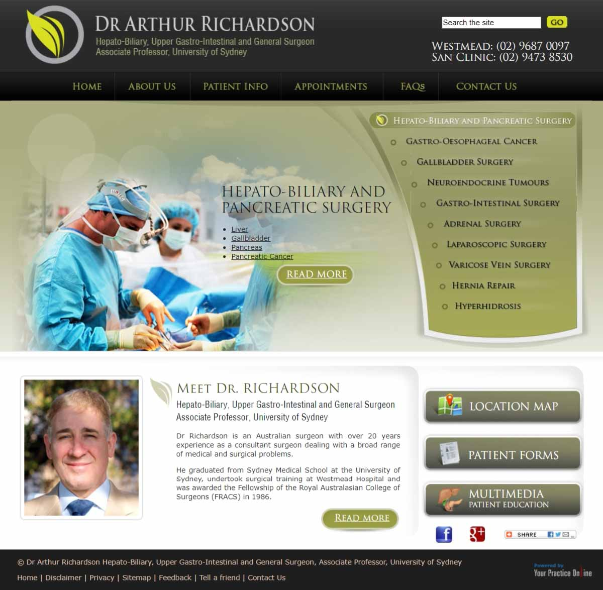Website for Gastrointestinal & General Surgeon