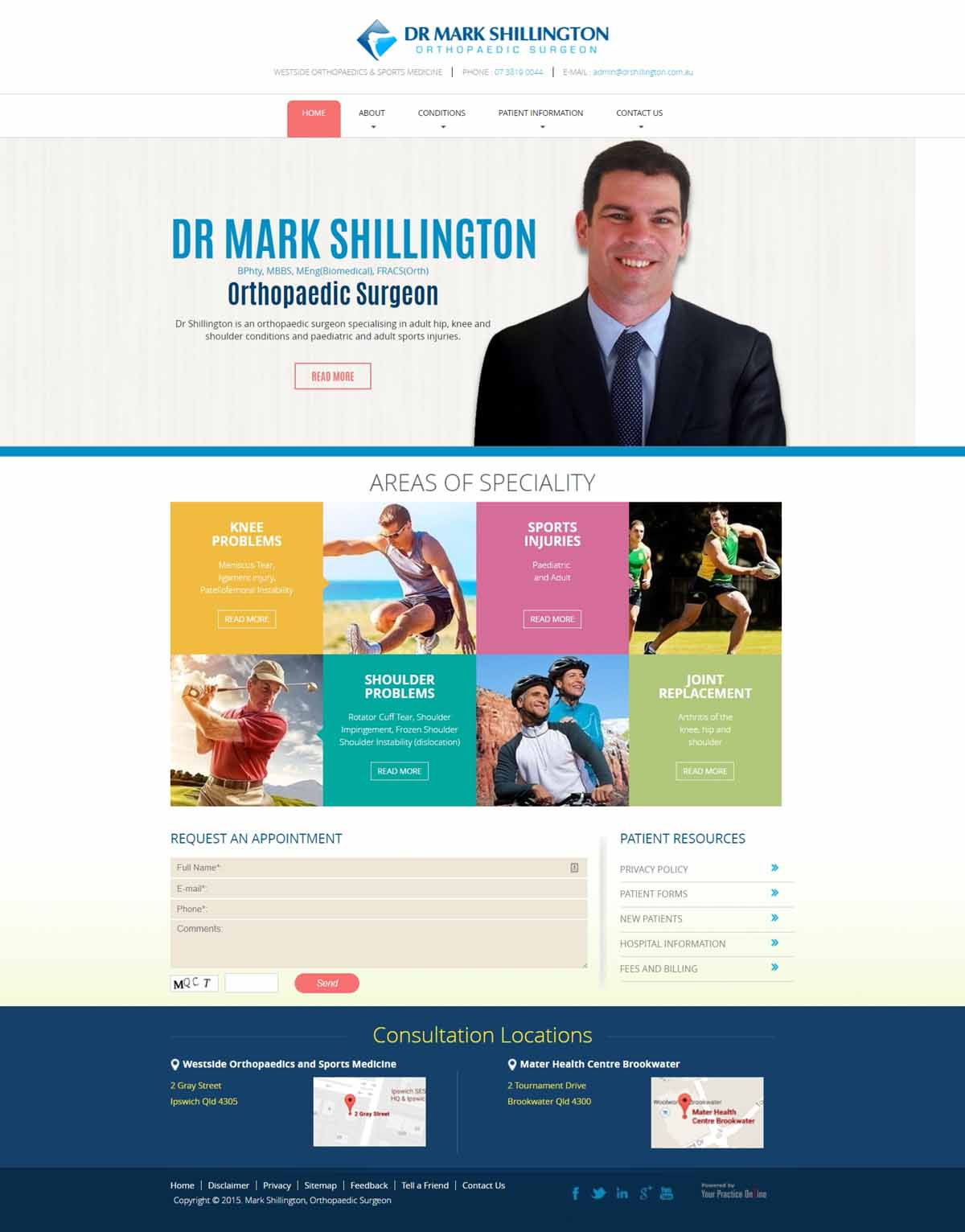 Orthopaedic Knee & Shoulder Surgeon Website