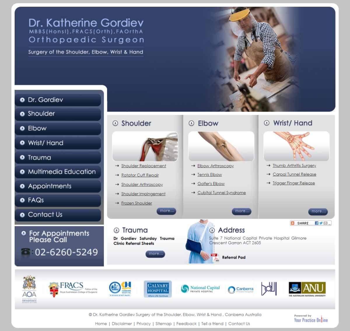 Website for Orthopaedic Shoulder, Elbow, Wrist & Hand Surgeon