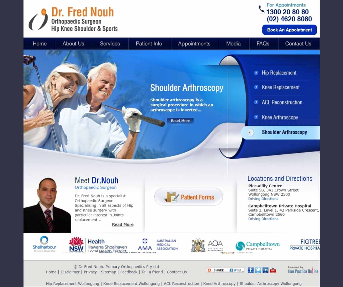 Website for Shoulder & Sports Orthopaedic Surgeon