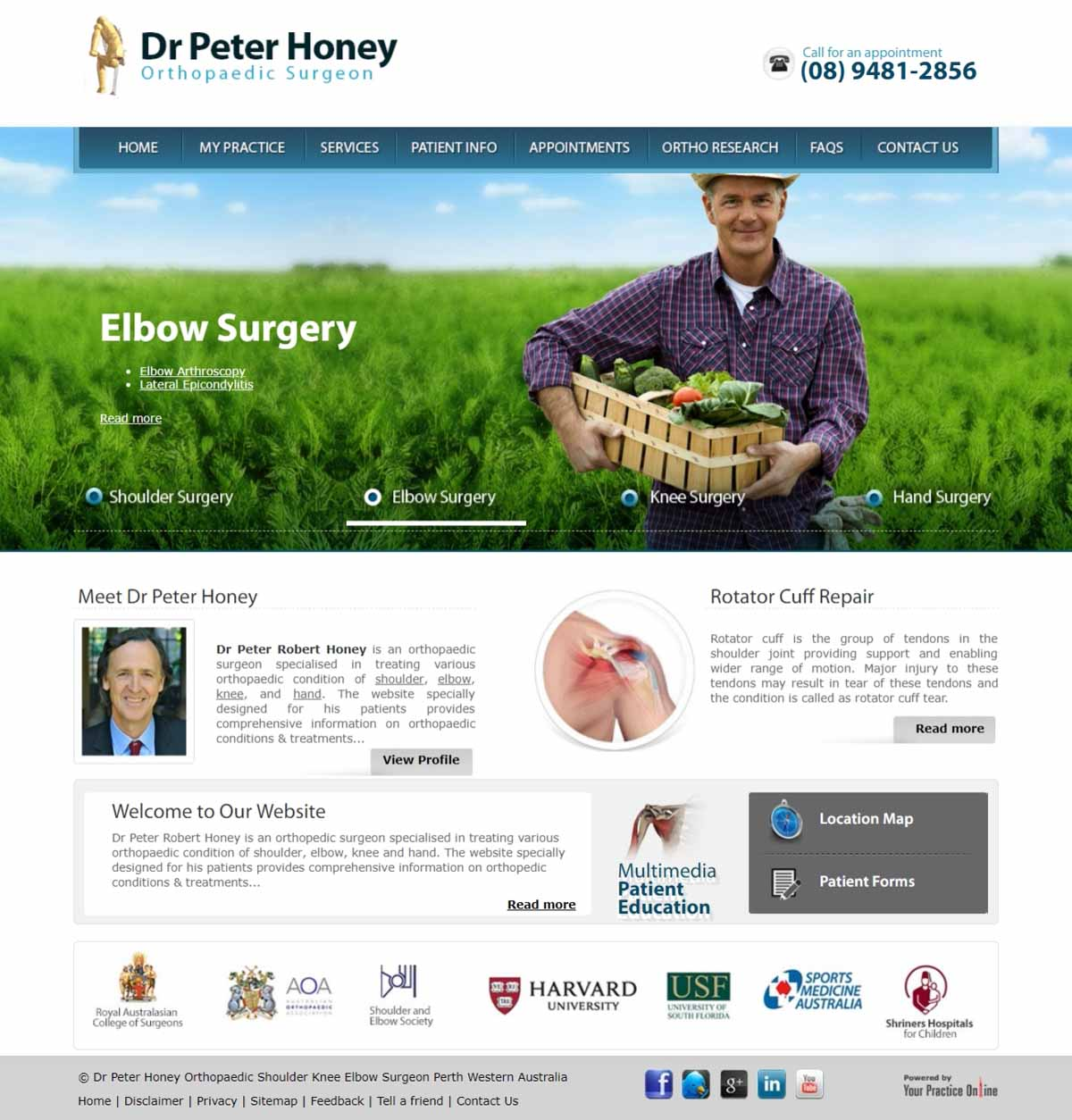 Website for Perth Orthopaedic Shoulder & Elbow Surgeon