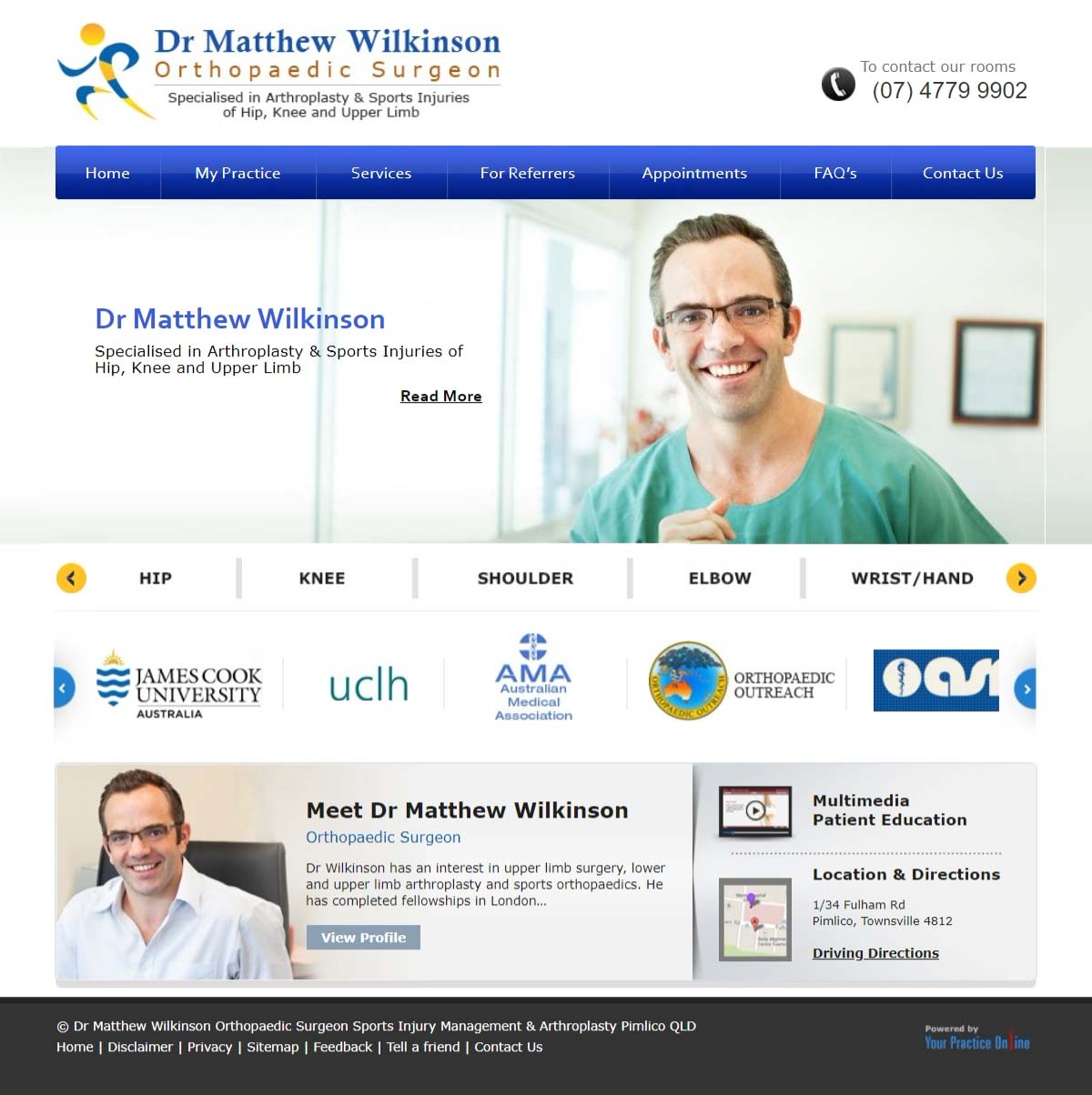 Hip & Knee, Sports Injury Orthopaedic Surgeon Website
