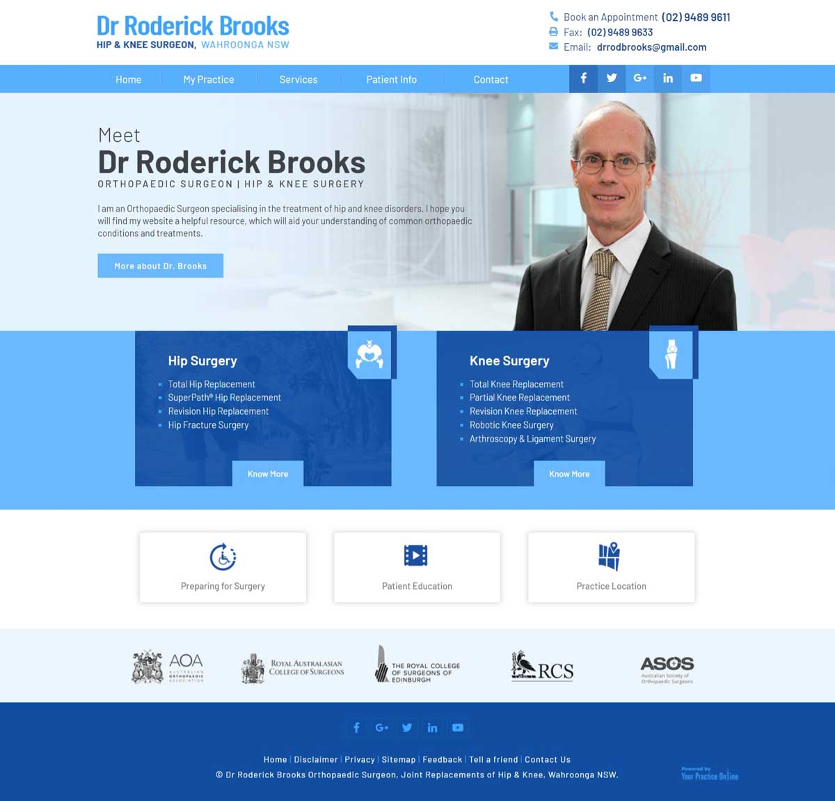 Sydney Knee & Hip Orthopaedic Surgeon Website