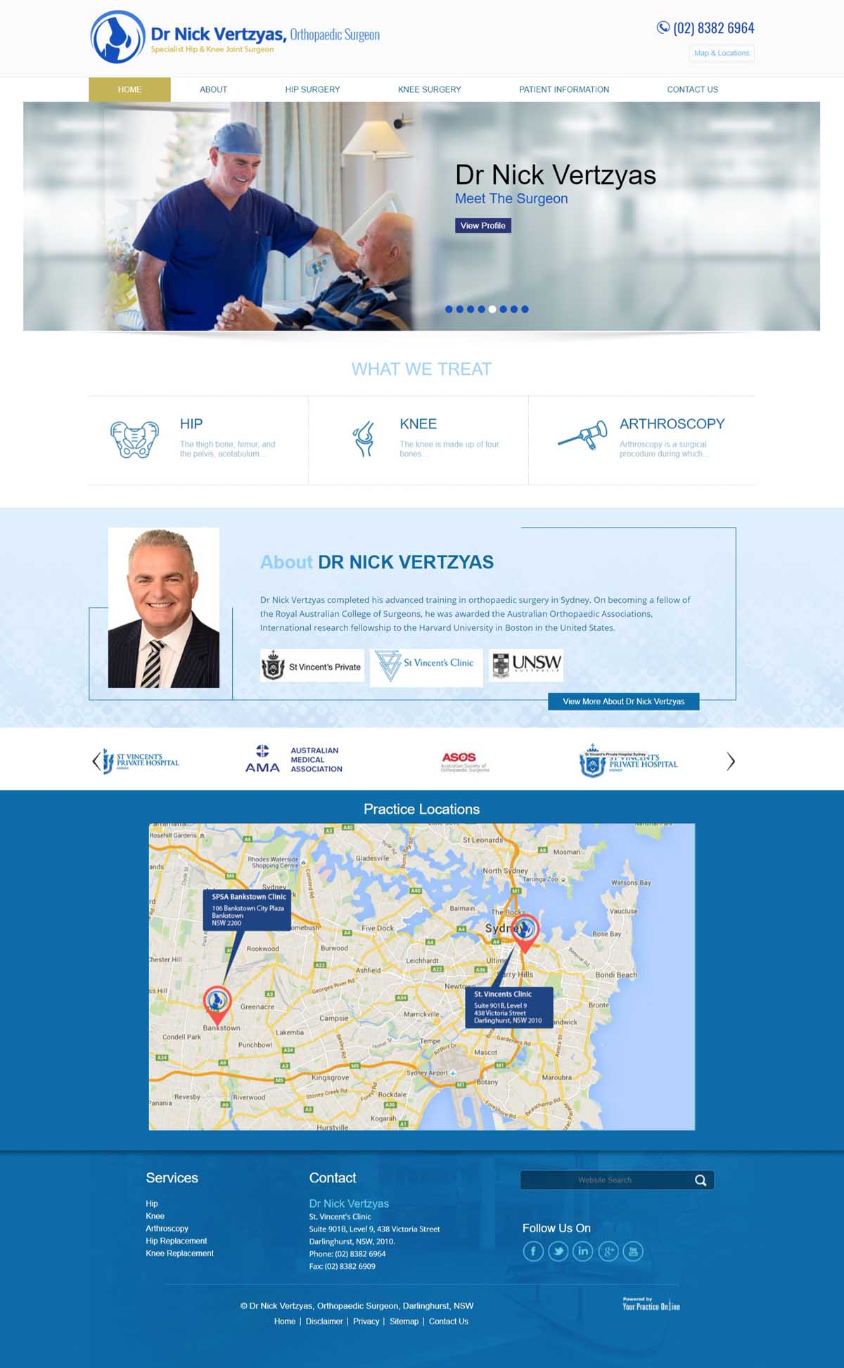 Website for Orthopaedic Surgeon Specialist of Hip & Knee