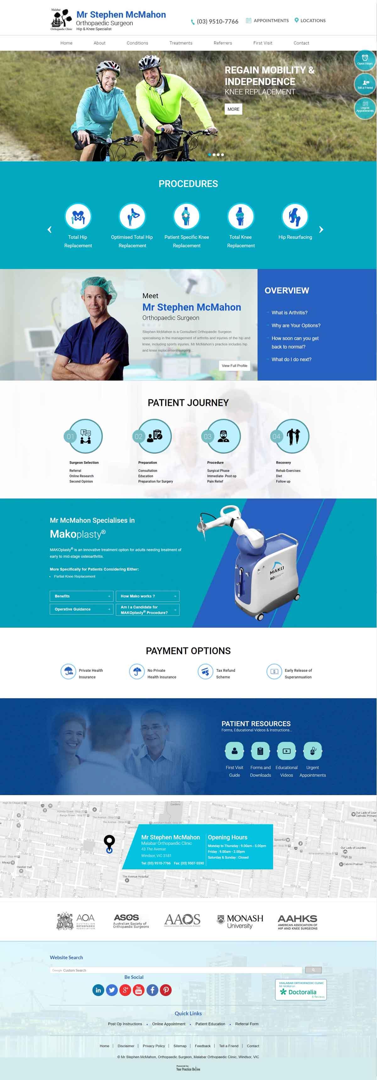 Orthopaedic Surgeon Hip & Knee Specialist Website