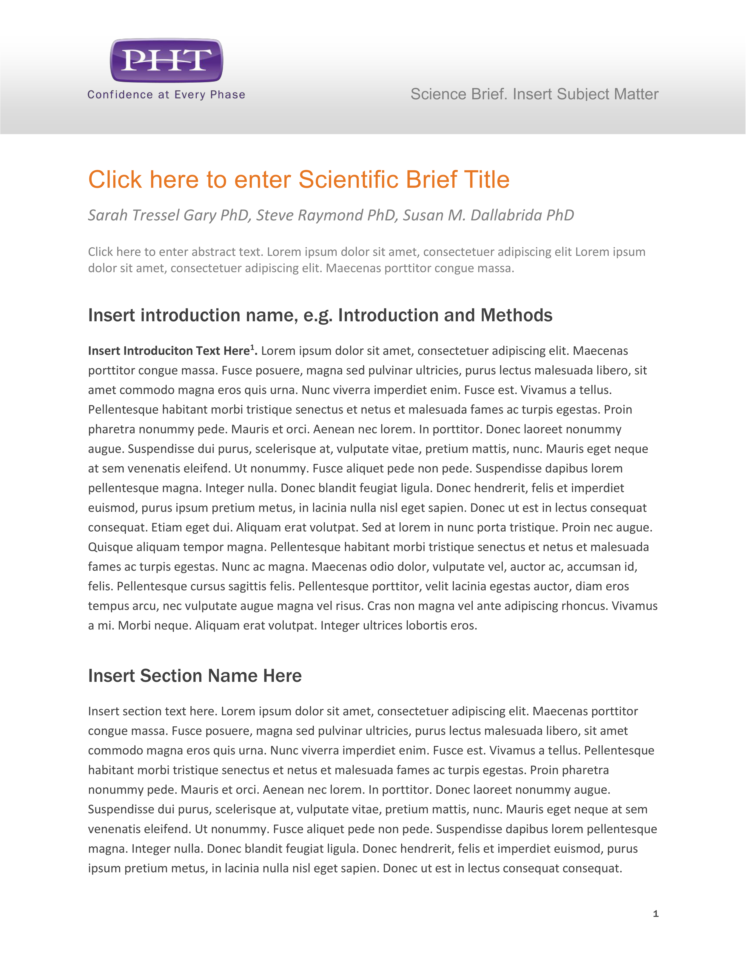 Science Brief Template