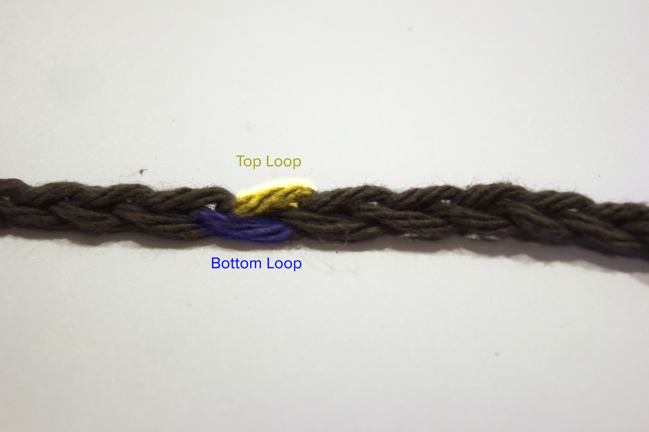 Front of a chain, top and bottom loops of the same stitch are highlighted.