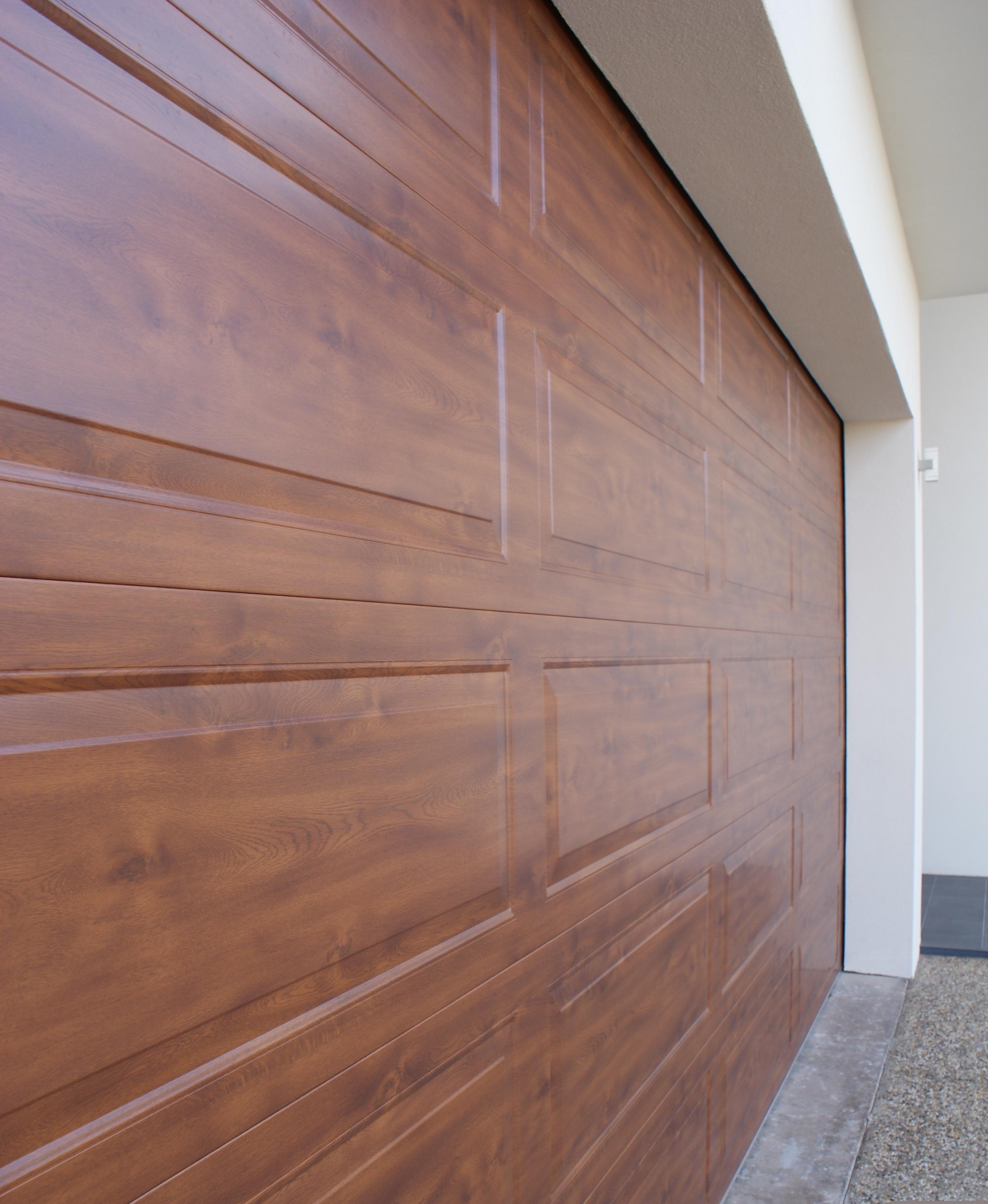 Hampton Steel Sectional Door in 'golden oak'