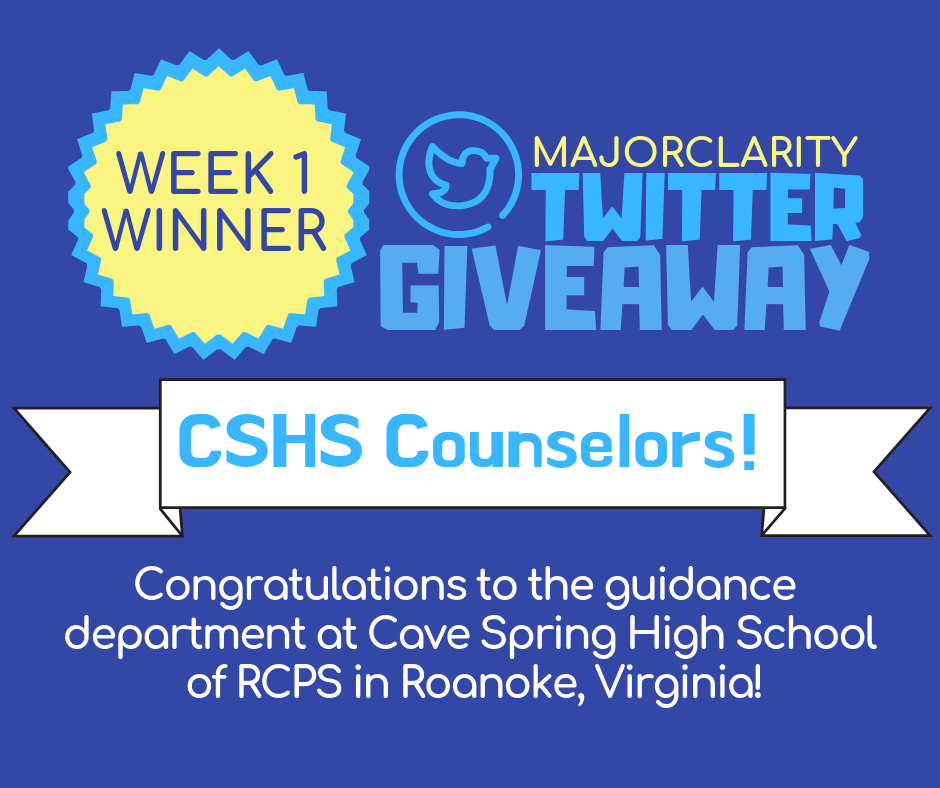 Twitter Giveaway WEEK 1 WINNER - Our @MajorClarity April Twitter Giveaway week one winner is the Cave Spring HS Guidance Department! Congratulations to the hardworking counselors of CSHS in Roanoke, Virginia! Thank you all for your ongoing support and enthusiasm for our platform. We are thrilled to hear that your students are loving MajorClarity, and proud to be partnering with Roanoke County Public Schools!
