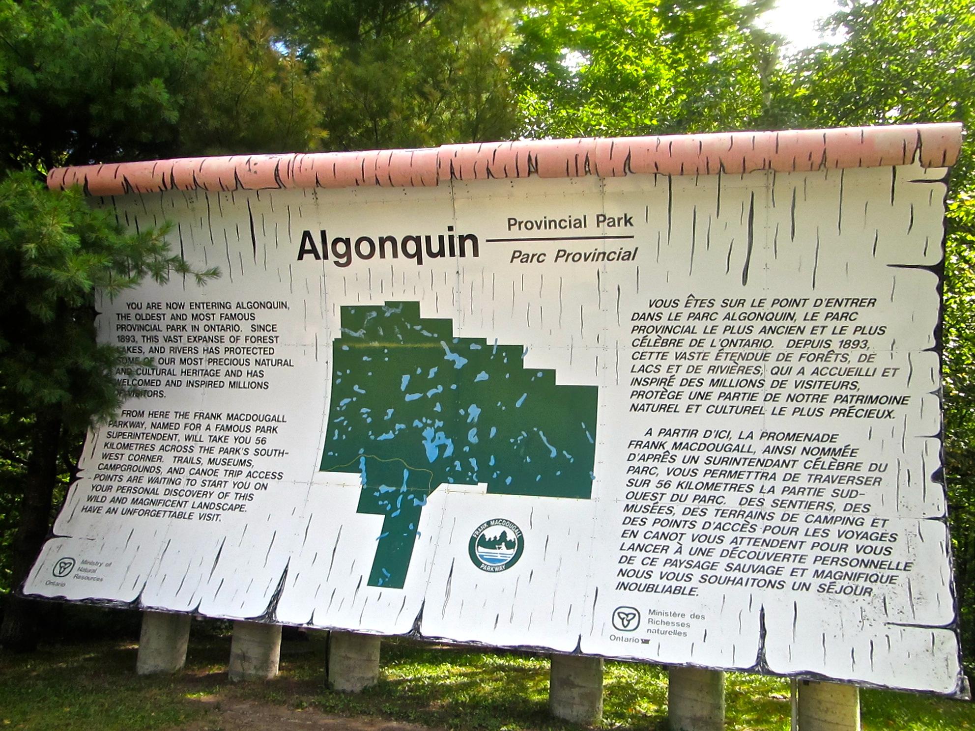 Picking up our park permit at westgate at Algonquin Provincial Park.