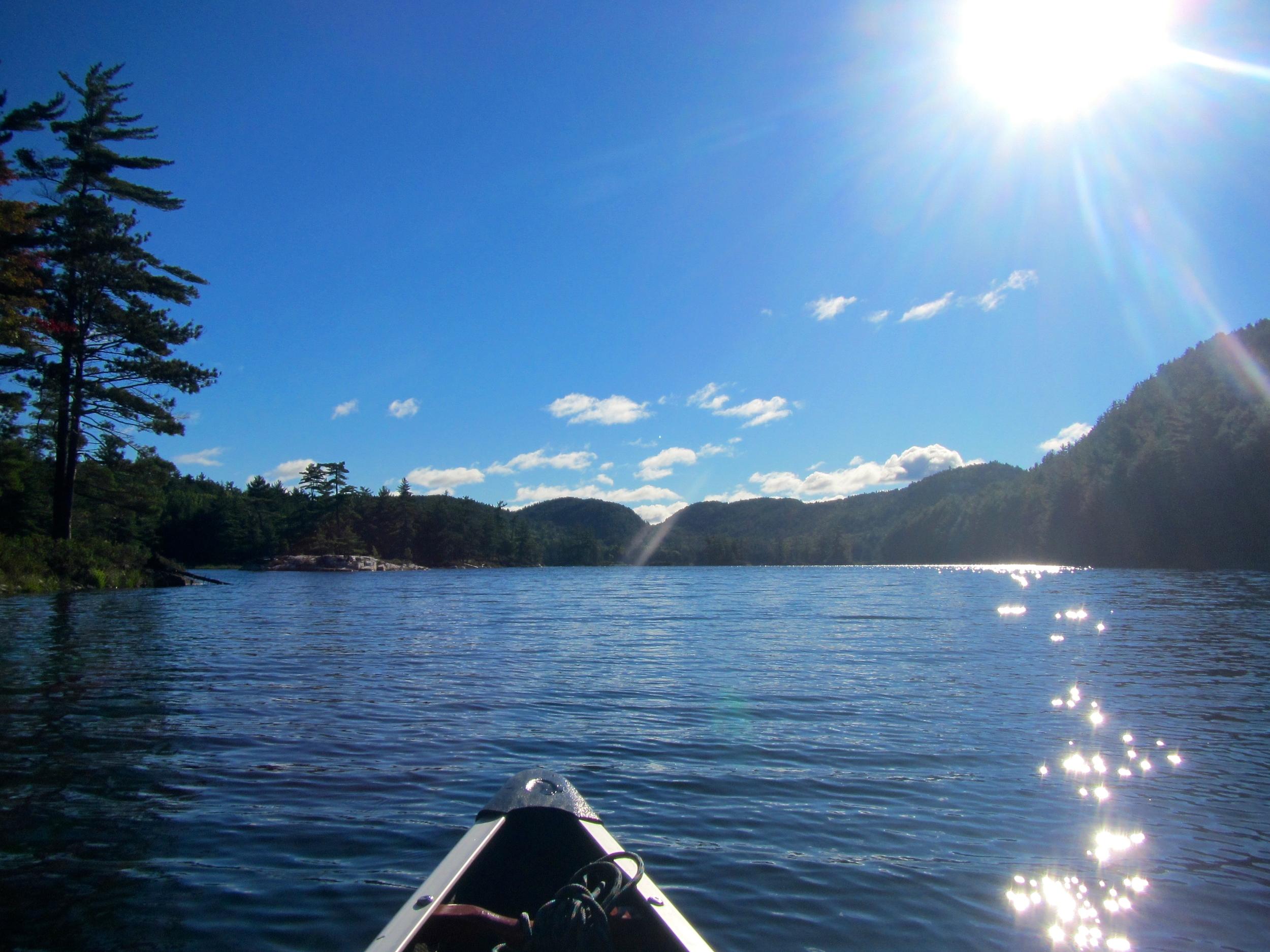 Launching into Grace Lake.
