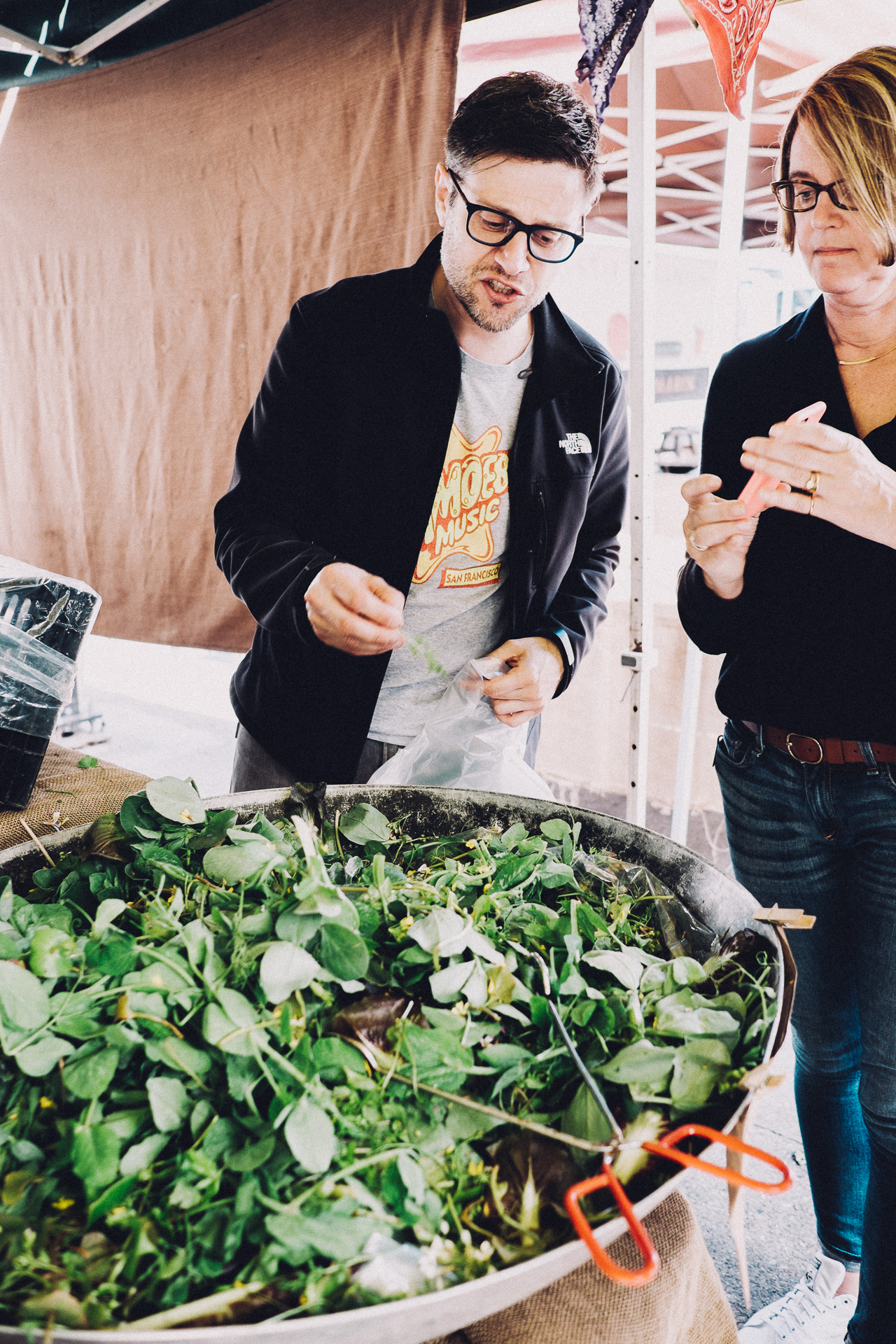 Sampling veggies from local famers.