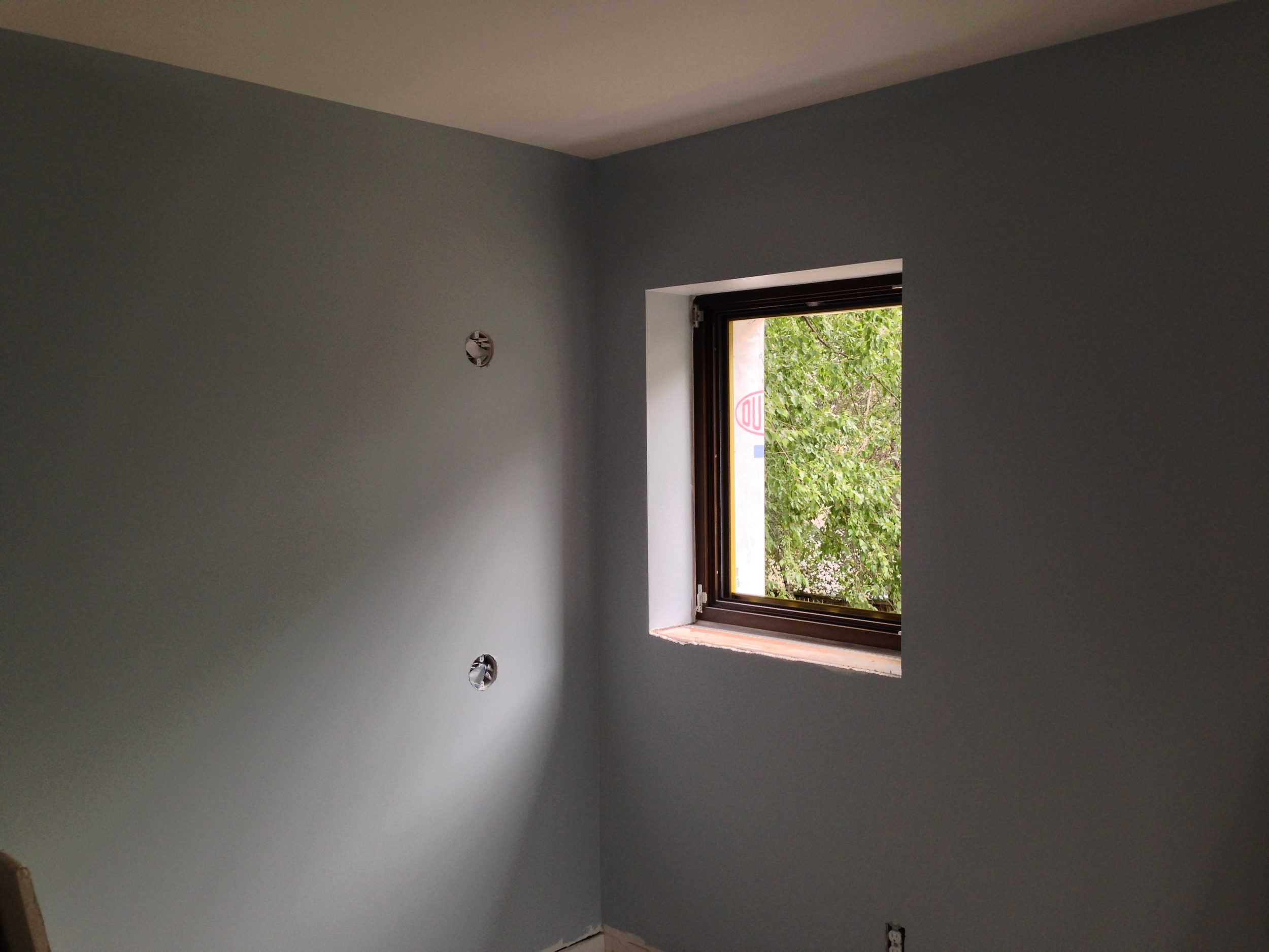 Boys' bunk bed nook, ready for wall-mounted reading lights