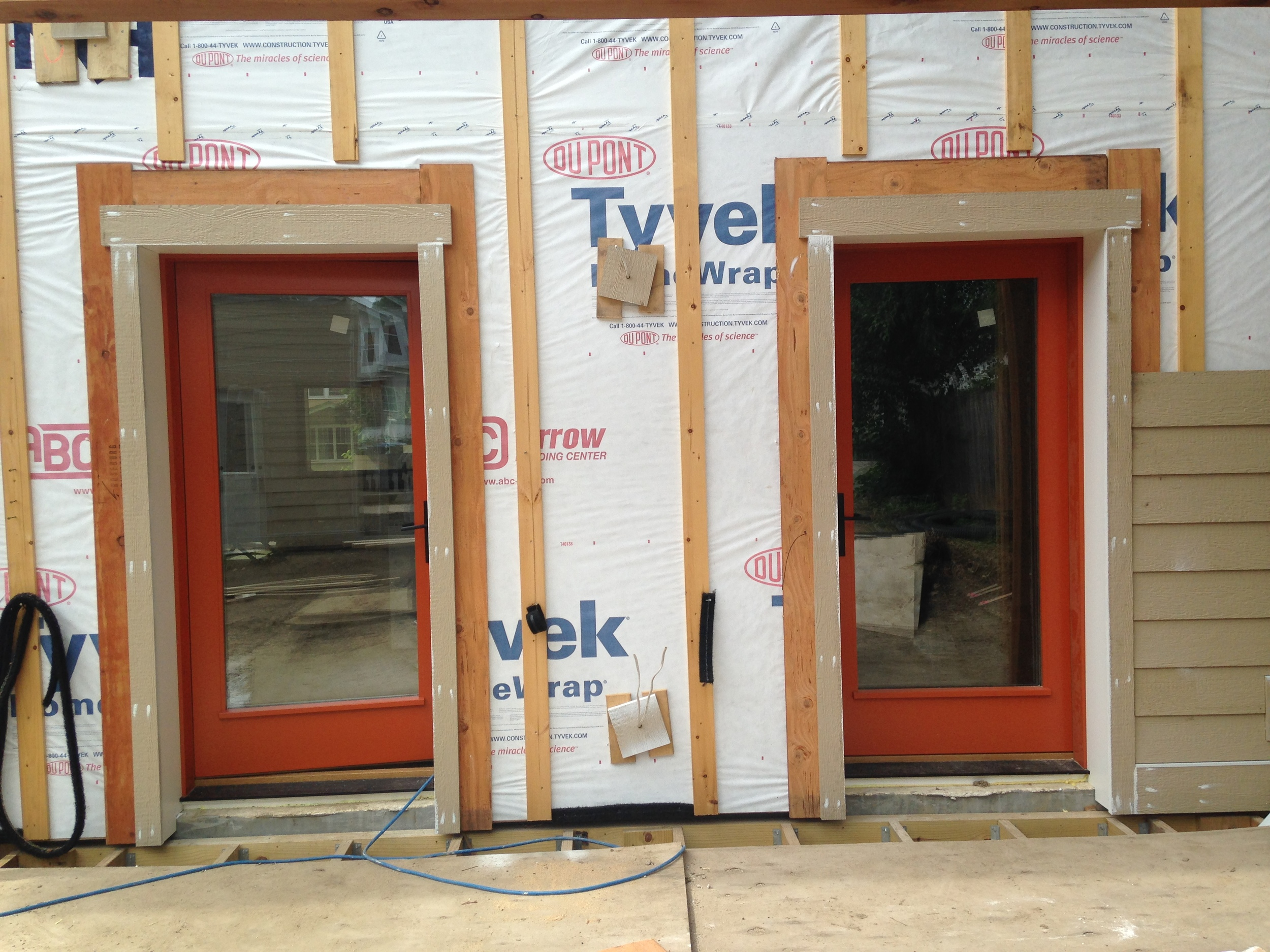 The two back doors- one to the kitchen and one to the mudroom