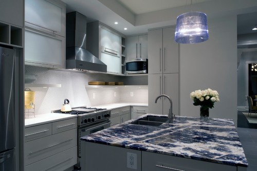 Lapis Blue Quartzite Kitchen Island