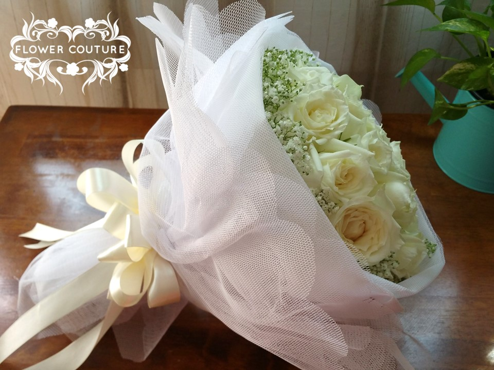 Swan Lake inspired hand bouquet by Flower Couture Pte Ltd