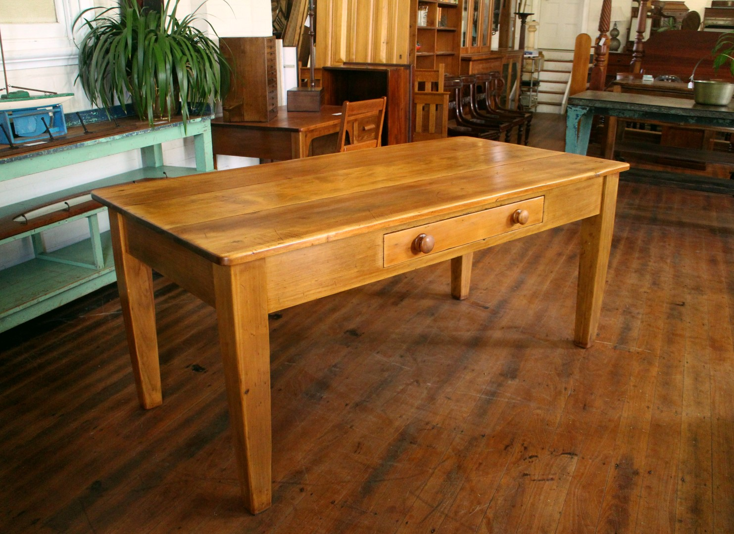 A  lovely Antique Kauri Pine Farmhouse Kitchen Table ,circa 1890.  1830mm x 820mm x 800mm(h) $2850