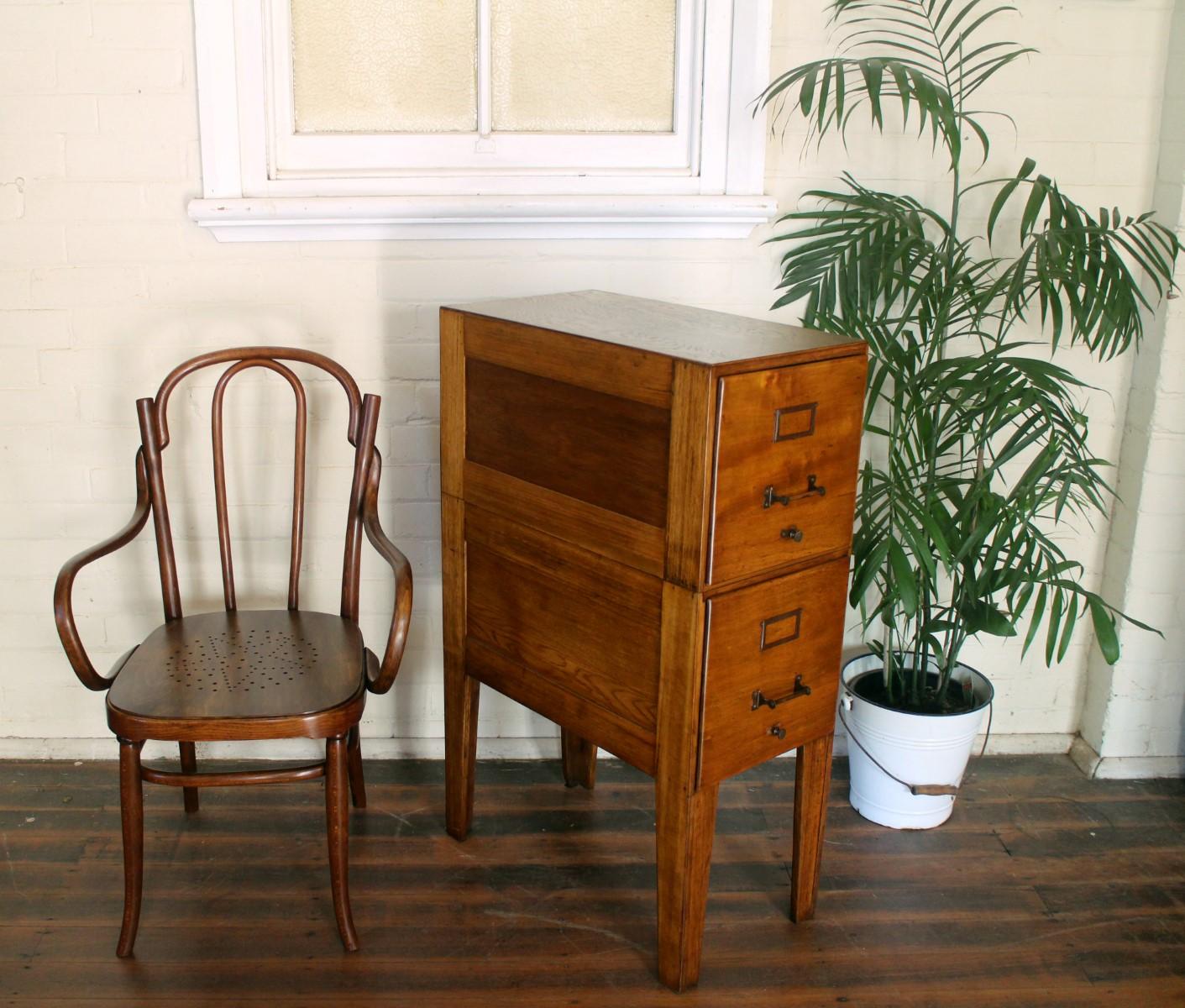 Vintage Oak and Maple Filing Cabinet.jpg